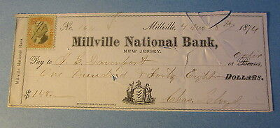 1874 - Millville National Bank - NEW JERSEY - BANK CHECK - Revenue Stamp