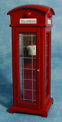 1:12 Scale Traditional Wood Red Telephone Box Dolls House Miniature Accessory