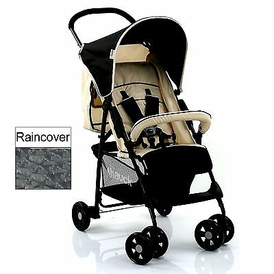 Hauck Sport Almond / Caviar Pushchair Stroller Baby Buggy & Raincover From Birth