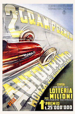 POSTER CIRCUITO MILANO CAR RACING PARCO REALE MONZA ITALY VINTAGE REPRO FREE S//H