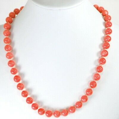 """Pink Coral Round Beads Hand Knotted 14k Gold Filled Clasp Necklace 18"""" FREE SHIP"""