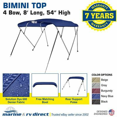 "Bimini Top Boat Cover 4 Bow 54"" H 67"" - 72"" W 8 ft Long Solution Dye Navy Blue"