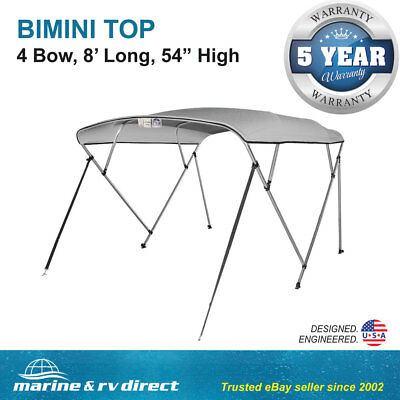 "New Bimini Top Boat Cover 4 Bow 54"" H 85"" - 90"" W  8 ft. Long Gray"