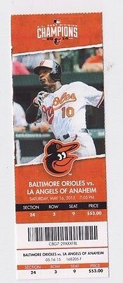 2015 Baltimore Orioles Vs Los Angeles Angels Ticket Stub 5/16 Mike Trout Hr