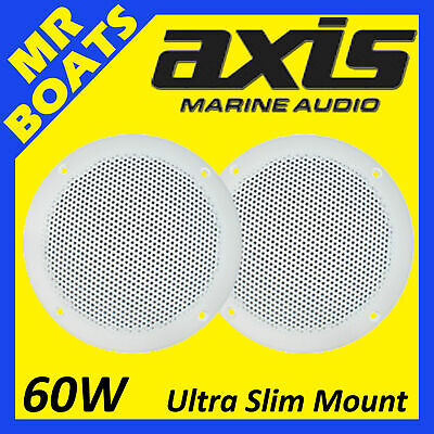 2 x AXIS MA500S Marine Speakers -ULTRA SLIM FLUSH MOUNT- 60W Dia 130mm FREE POST
