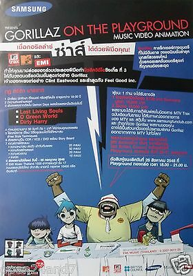 "GORILLAZ ""ON THE PLAYGROUND"" THAILAND PROMO POSTER - Group Behind Table"