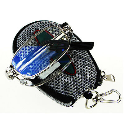 New Silver Folding  Reading glasses Black Case with Belt Clip +1 - +4 Portable