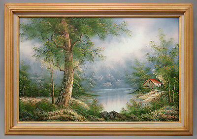 Framed Oil Painting of Landscape Tree and House by River Very Detailed 30x42""