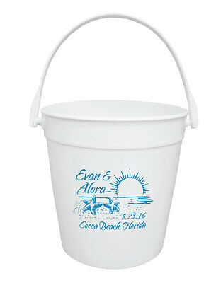 50 Custom Personalized 32oz Buckets for Destination Wedding or Event Favors