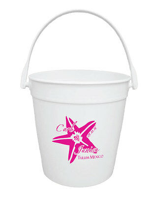 100 Custom Personalized 32oz Buckets for Destination Wedding or Event Favors