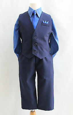 Black royal navy blue boy 4 pc set vest and tie graduation party formal suit