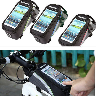 """Roswheel Bike Cycle Frame Pannier Front Tube Bag Holder For Mobile Phone 5.5"""""""