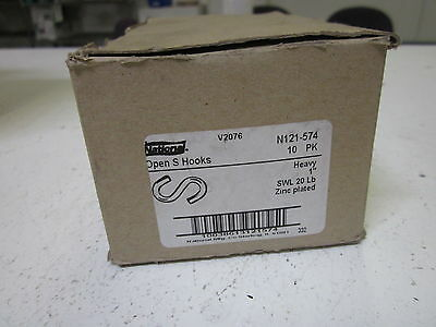Lot Of 10 National N121-574 Open S Hooks *new In Box*