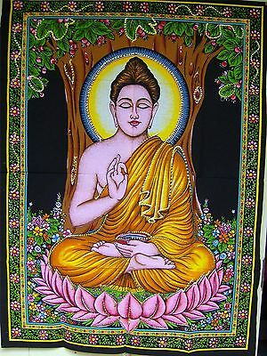 Indian Cotton Wall Art Print with Sequins - 77cm x 107cm - Buddha