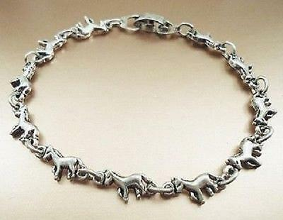 Adorable Tiny Horses Antique Silver Plated Bracelet Size 7.0 Inch