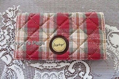 Longaberger Orchard Park Plaid Quilted Checkbook Cover w/ Credit Card Sleeve New