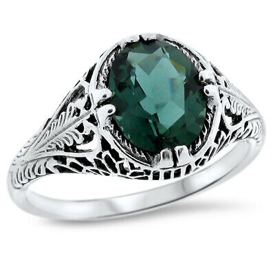 Green Lab Amethyst 925 Sterling Silver Vintage Antique Design Filigree Ring,#770