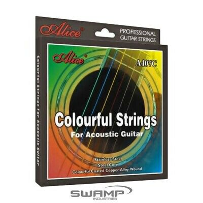 Alice Multi-Coloured Acoustic Guitar Steel Strings - 11-52
