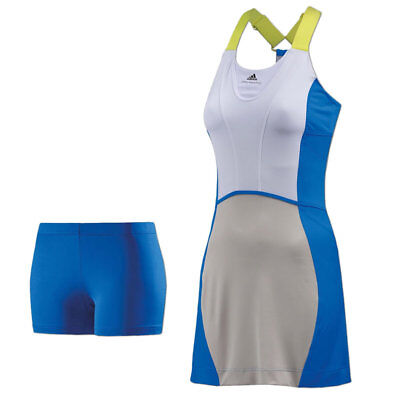 adidas Climalite Tenniskleid Barricade Tennis Dress Kleid mit BH und Tights blau