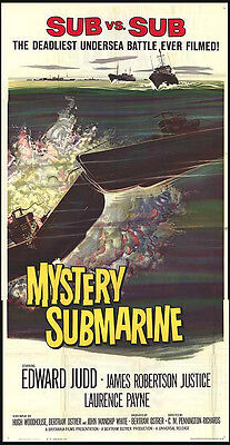 MYSTERY SUBMARINE original WW2 large movie poster BRITISH NAVY 3-sheet 41X81