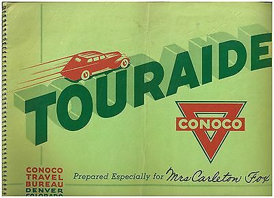 1937 Conoco Touraide Book - Detroit to CO, WY, MT Yellowstone and back