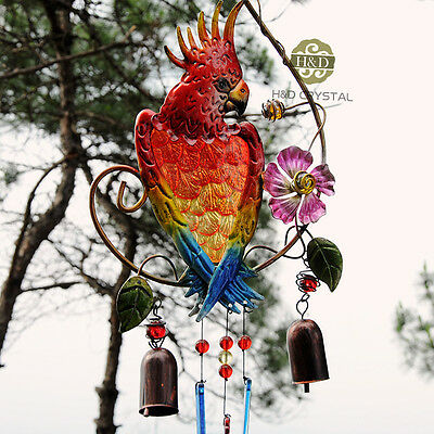 Copper 2 Bells Parrot Metal Glass Wind Chimes Outdoor Living Yard Garden Decor