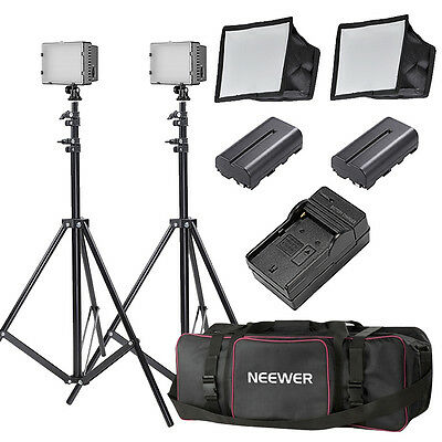Neewer 2x Dimmable CN-160 LED Video Light With Ultra High Power Panel for Camera