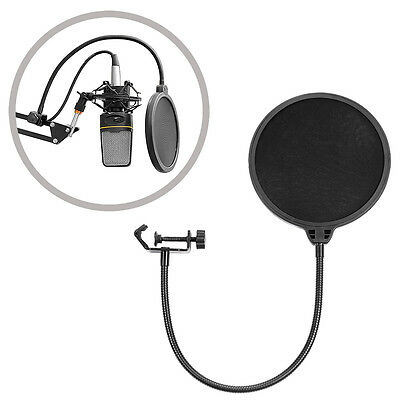 Neewer Flexible Wind Pop Filter Mask Shield for Microphone Mic with Stand Clip