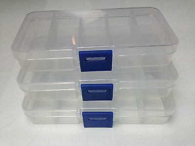 3X 10 Compartment Small Organiser Storage Plastic Box Craft Bead Nail Fuse Beads