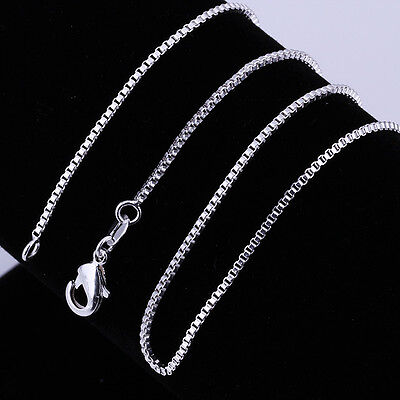 "1PCS 1MM 2MM 925Sterling Silver Solid Silver Vivid Box Chain Necklace 16""-24"""
