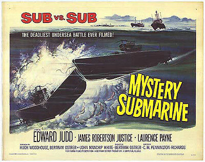 MYSTERY SUBMARINE original WW2 22x28 movie poster BRITISH NAVY/GERMAN U-BOATS