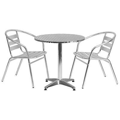27.5'' Round Aluminum Indoor-Outdoor Table With 2 Slat Back Chairs