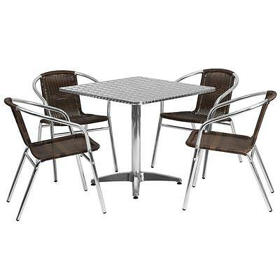 31.5'' Square Aluminum Indoor-Outdoor Table With 4 Rattan Chairs