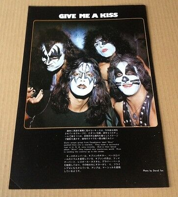 1976 Kiss JAPAN mag photo pinup mini poster / vintage rare clipping 12mi