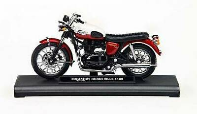 GENUINE TRIUMPH BONNEVILLE T100 1:18 SCALE MODEL BOXED in RED / WHITE