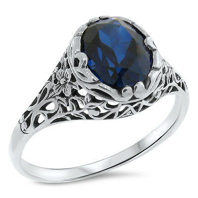 Lab Sapphire .925 Sterling Filigree Antique Style Silver Ring,  #790