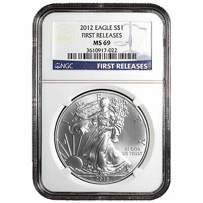 2012 $1 American Silver Eagle NGC MS69 First Releases Blue FR Label