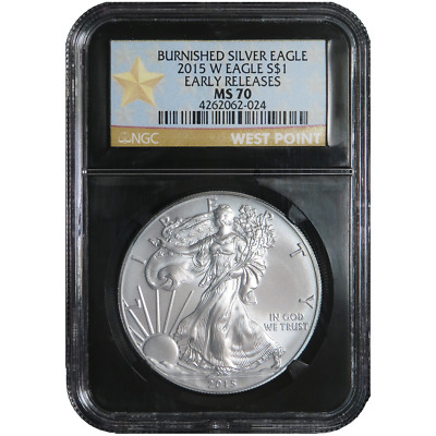 2015-W Burnished $1 American Silver Eagle NGC MS70 WPS ER Label Retro