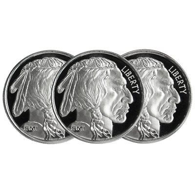 Lot of 3 - 1 Troy oz Sunshine Mint Buffalo .999 Silver Round Mint Mark SI