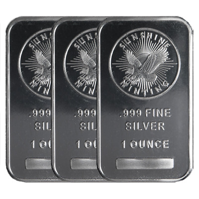 Lot of 3 - Sunshine Mint .999 Fine Silver Bars 1 oz Mint Mark SI Sealed