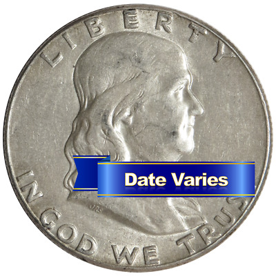1948-1963 90% Silver Franklin Half Dollars Average Circulated $1 Face Value