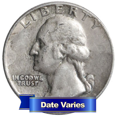 1932 to 1964 90% Silver Washington Quarters Average Circulated $1 Face Value