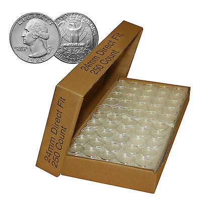 Direct Fit Airtight A24 Coin Holder Capsules for QUARTERS - BOX QTY: 250