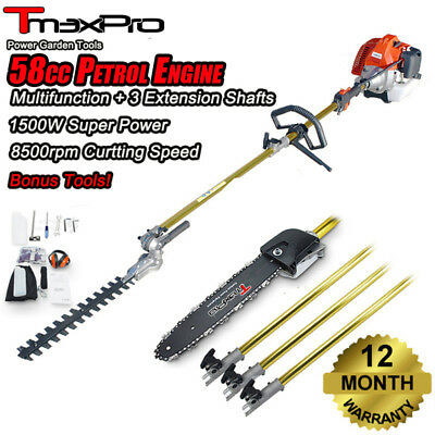 Teammax Pole Chainsaw Hedge Trimmer Pruner Chain Saw Brush Tree Cutter 52cc 2 st