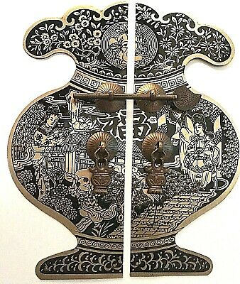"10"" Chinese Fortune Brass Cabinet Face Plate Door Pull Furniture Hardware"