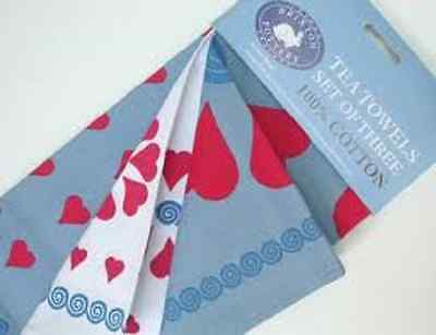 Brixton Pottery red hearts Tea towel 3 Designs you choose