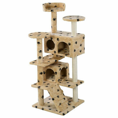 New Cat Tree Tower Condo Furniture Scratch Post Kitty Pet House Play Beige Paws