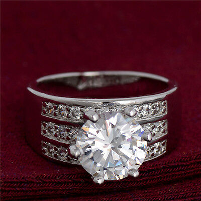 925 Silver White Cubic Zirconia CZ Wide Ring Engagament Ring For Women Girls