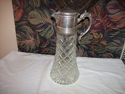 Vintage Cut Glass Water Carafe With Silver Plated Lid 13 Inches Tall