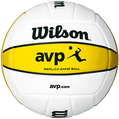 Wilson AVP Replica Volleyball Official Size Weight - White/Yellow  One Size